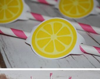 Lemonade Straw Flags, Lemonade Straws, Lemonade Birthday, Lemonade Party, Lemonade Decoration,Lemonade, Pink Lemonade, Pink Lemonade party