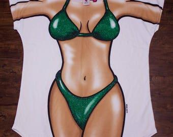 90s Body Dreams Hot Beach Girl In Bikini Costume Oversized Shirt Made In USA