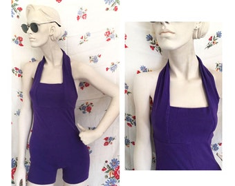 Funky 80s 90s purple romper/jumpsuit with haltered neck and open back. Size Large