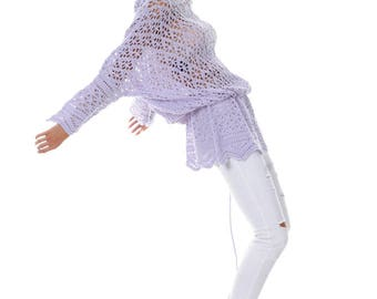 Handknit Cashmere Dress Sweater Hoodie Knitted Shetland Lace Blouse Tunic Handmade from 100% Cachemire Loro Piana Fabric. Eco Fashion Sport