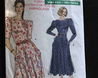Vogue 7490 - 1980s Very Easy Midi Length Dress with Semi Fitted Bodice and Shoulder Puff Sleeves in Elbow or Full Length - Size 8 10 12