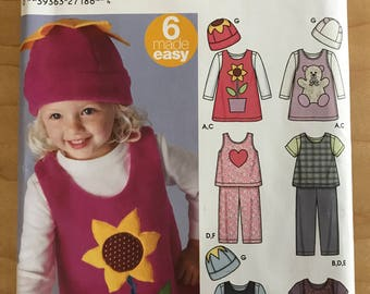 Simplicity 5317 - Karen Z Girl's Easy to Sew Jumper, Top, and Beanie - Size 1/2 1 2 3 4