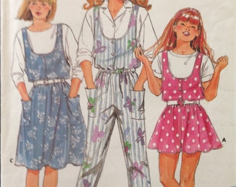 Butterick 3917 - 1980s Girl's Jumper and Jumpsuit with U Neckline - Size 7 8 10