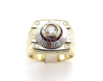 14k Yellow White And Rose Gold Men's CZ Ruby Ring Size 10 3/4