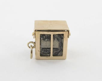Vintage 14k Yellow Gold Mad Money Box Charm Pendant Opens To A Dollar Bill Inside for Emergancy