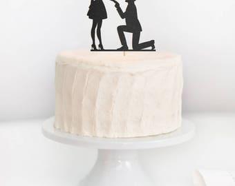 SALE - Wedding Proposal Cake Topper, Engagement Silhouette Cake Topper, Proposal Silhouette Cake Topper, Engagement Cake Topper
