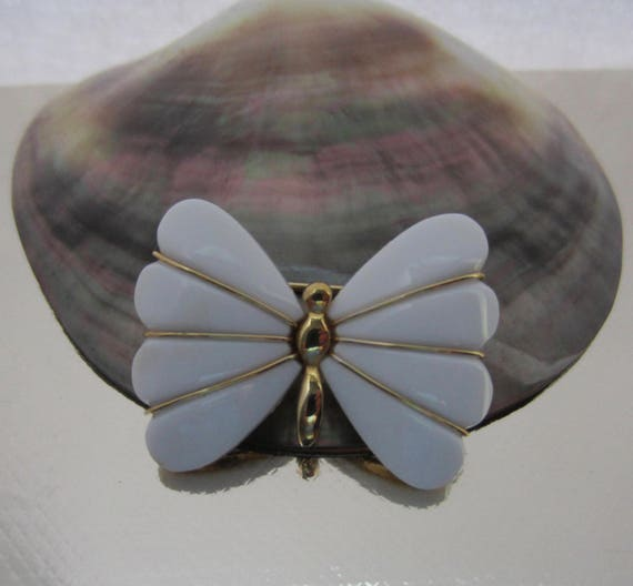 TRIFARI signed white with gold tone metal Butterfly pin ~demure, vintage costume  jewelry