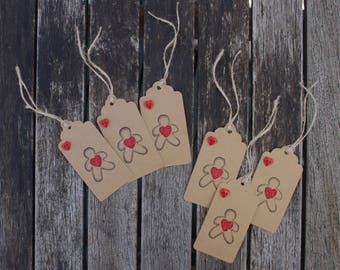 Festive gift tags - Gingerbread man gift tags, Gift tag set, Rustic gift tags, Christmas gift tags, Present tags, Gift wrap, Xmas wrapping