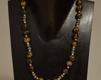 Necklace Bright Silver Batik Buri Nut Wood Beaded Handmade Buri Nut Jewelry Necklace