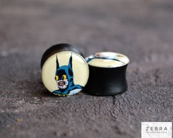 "Ear gauges Batman image wooden plugs 4,5,6,8,10,12,14,16,19,20,25-60mm;6g,4g,2g,0g,00g;1/4,5/16,3/8,1/2,9/16,5/8,3/4,7/8,1 1/4,1"" all size"