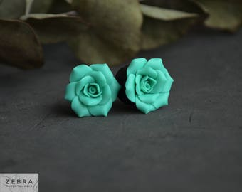 "Turquoise Rosebud flowers plugs,Ear piercing tunnels 8,10,12,14,16,18,20,22,24,26,28,30mm;0g,00g;5/16"",3/8"",1/2"",9/16"",5/8"",3/4"",7/8"",1 1/4"""