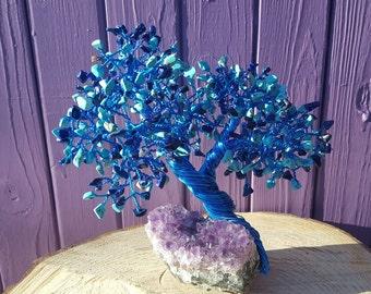 Lapis Lazuli Gem Tree, Blue Magnesite, Amethyst Cluster, Crystal Decoration, Gemstone Home Decor, Spiritual Gift, Tree of Life, Pagan Altar