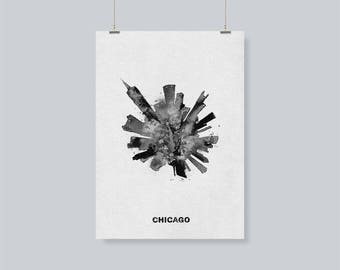 Black and White Chicago Cityscape / Skyline Travel Poster as A Souvenir / Gift Idea, Chicago, United States Skyline/Skyround Painting