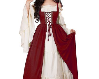 PRE ORDER ** Renaissance Medieval Irish Costume Over Dress & Cream Chemise Set