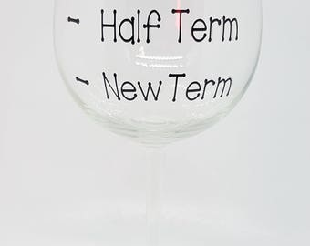 Red Wine Glass Gift For Teacher - New Term, Half Term, End of Term - Under 10 Pound Gift - FREE DELIVERY