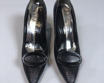 Vintage 60s Herbert Levine Black Witchy Stiletto Heels Pumps Womens Size 8.5AAA (Fits like 7.5M)