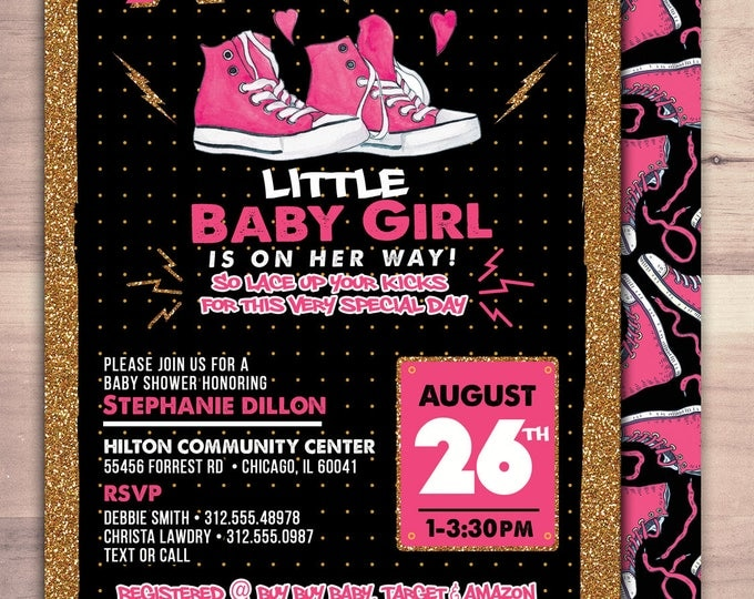 Hip hop baby shower, sneakers, Hip Hop, Swagger,  pop star, Rock Star birthday, Sneaker, old school, sneaker head, glitter, black and pink