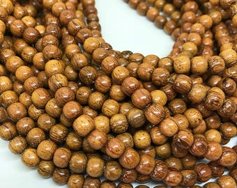 Golden Brown Bayong Wood Beads, Round Waxed Wooden Beads, Natural Brown Bayong Beads, Wooden Mala Beads, 6mm - 70 beads (W6-26)