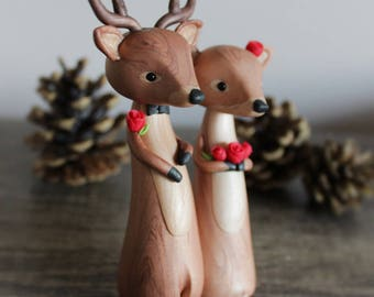 Deer Wedding Cake Topper - Winter Wedding, Christmas Wedding, Stag and Doe, Reindeer wedding cake topper by Heartmade Cottage