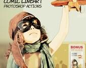 Comic Book Superhero Photoshop + Photoshop Elements Actions: Comic LineArt (jes0020)