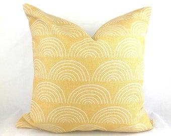 Mustard pattern cushion, yellow pattern cushion, sunny print throw pillow, scandi yellow cushion, scandi mustard cushion