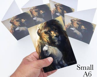 Lion and Lamb pack of 5 greetings cards (small A6 cards)