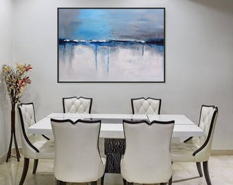 Dining Room Canvas Art Abstract Painting Modern Large Wall White Blue Gray
