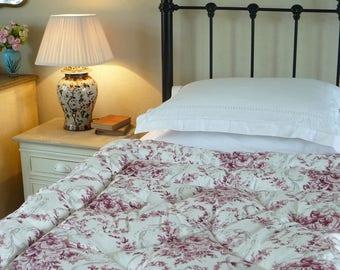 NEW French Inspired Cranberry & Grey Eiderdown Quilt Comforter