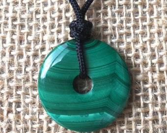 Genuine Malachite Necklace, Green Malachite Disc Necklace, Malachite Donut Necklace, Malachite Safety Buckle Adjustable Black Cord Necklace