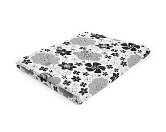Floral Blanket, Black White Blanket, Modern Throw, Flowers Blanket, 30x40 50x60 60x80, Modern Throw Blanket, Soft Fleece Blanket