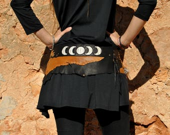 NITA MOON handmade leather belt in colours black and brown, with rivets and feathers