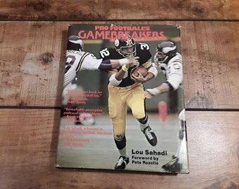 1970s Pro Football Book, NFL Gamebreakers Hardcover with Dustjacket, Large Coffee Table sized, Full page color photos, Frameable