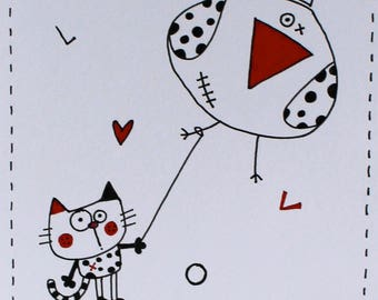 Card greeting, paper, wishes, wishes, birthday, holiday, color, playful characters, cat love?