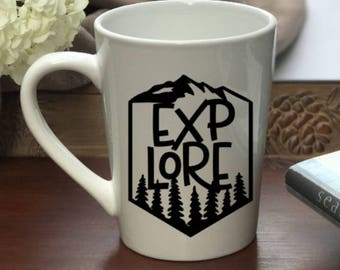 Explore Mug, Explore Coffee Mug,  Explore, Coffee Mug, Personalized Mug, Custom Coffee Mug, Mug, Funny Mug, Quote Mug