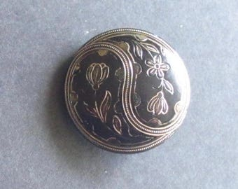Antique Black Glass Button With Delicate Floral Yin-Yang Design