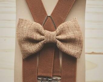 Khaki burlap bow tie for Men's brown suspenders for groomsmen Rustic wedding outfit for ring bear er baby boys bow tie suspender set LondonJ