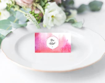 Pink Water color Wedding Place Card