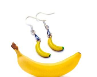 Monkey Business Banana Earrings, 925 Wires, Yellow Fruit Banana Peel Miniature Food Charm Jewelry