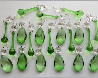 20 Emerald Green Chandelier Drops Glass Crystals Droplets Chic Mix Beads Vintage Christmas Tree Light Crafts Lamp Parts Wedding Decorations