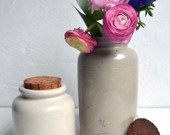 Pair of Antique French Stoneware Mustard Pots with Original Cork Lids Lab Lagny Moutard Bocquet Yvetot
