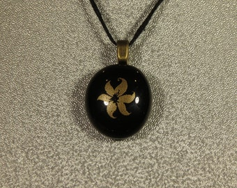 Black and Gold Fused Glass Pendant