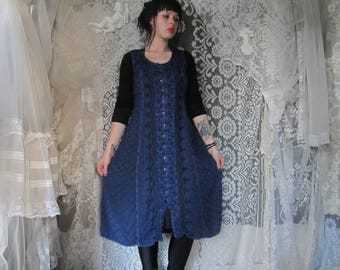 Blue Hippie Boho Dress 90s does 70s Embroidered Button Up Medieval Festival Witchy Sleeveless Dress Purple Buttons Loose 90s Grunge Hippy