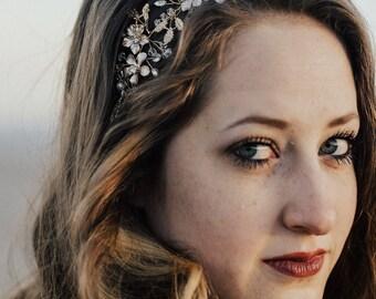 White Gold Hair Vine, Gold Flower Hair Vine, Wedding Hair Accessory, Bridal Wreath, Rhinestone Hair Piece, Leaf Hair Crown