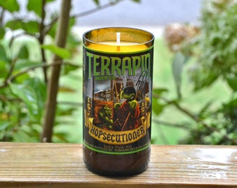 Terrapin Hopsecutioner IPA beer bottle candle made with soy wax