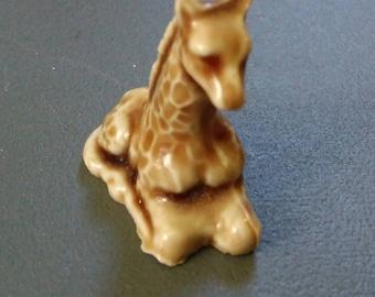 "Tiny miniature giraffe, baby giraffe, ceramic shadow box giraffe, 1980s giraffe, 1-1/2"" in size, cute giraffe, brown and tan"