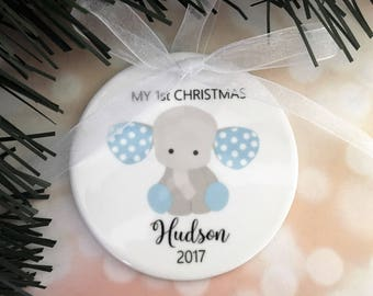 My First Christmas Ornament, Baby Ornament, Baby Boy Ornament, Ornaments, Baby Gift, Baby Boy Ornament, Baby Elephant Ornament, Baby