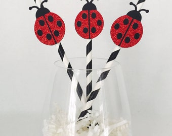 12 Ladybug Party Straws - Paper Straws - Little Lady - Birthday Party - Baby Shower - Party Decor - Spring - Red and Black - Spots - Stripes