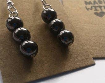Gunmetal grey glass bead earrings