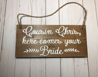 Ring Bearer Sign-Wood Wedding Sign-Here Comes the Bride-Rustic-Country-Ring Bearer-Flower Girl Sign-Wedding Ceremony Decor-Wedding Ceremony