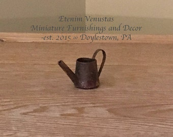 Miniature Rusted Watering Can for a Dollhouse Garden ~ 1:12 Scale